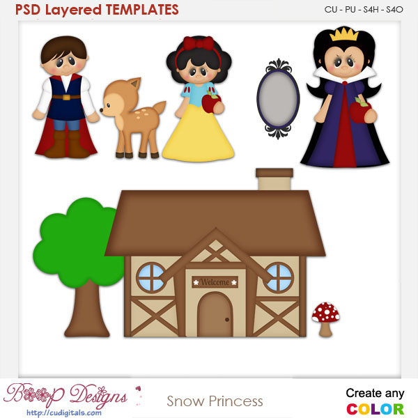 Snow Princess Story Book 1 Layered Element Templates