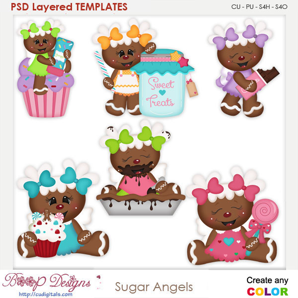 Sugar Ginger Angels Layered Element Templates