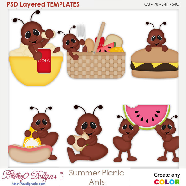 Summer Picnic Ants Layered Element Templates