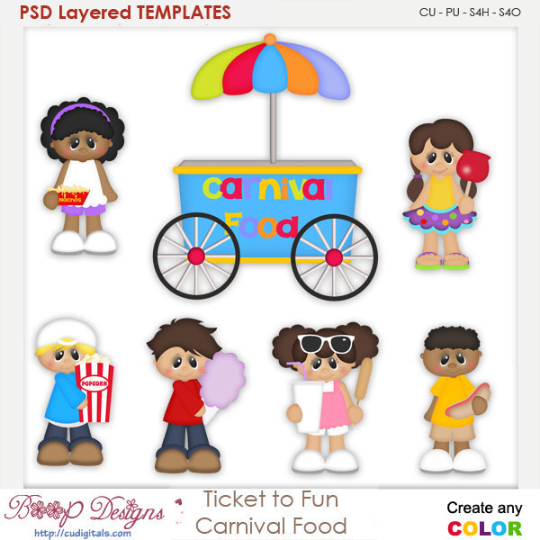 Ticket to Fun Carnival Food Layered Element Templates
