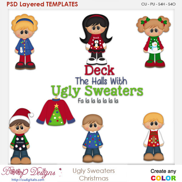 Ugly Sweater Christmas Layered Element Templates