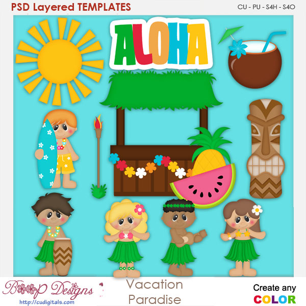 Vacation Paradise Layered Element Templates