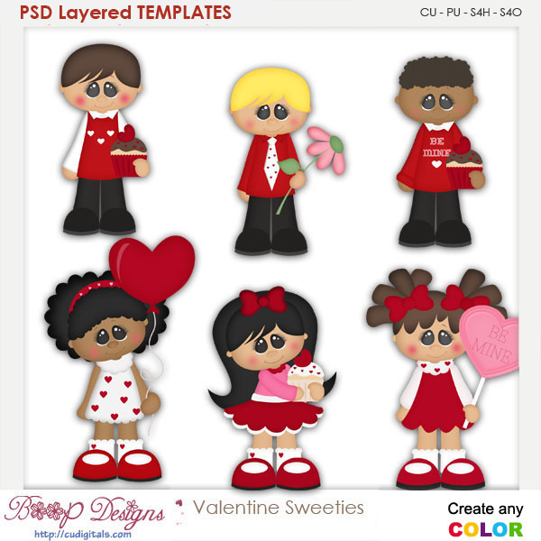 Valentine Sweeties Layered Element Templates