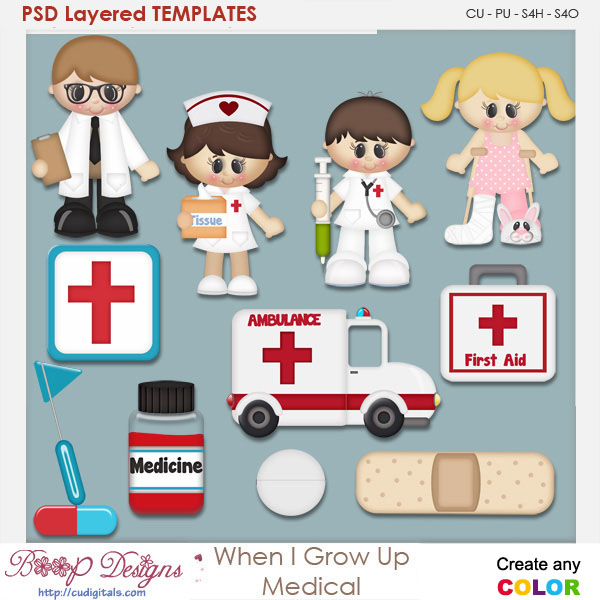 When I Grow Up Medical Layered Element Templates