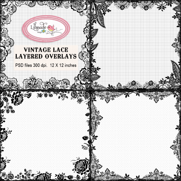 Vintage lace layered border overlays Lilmade Designs