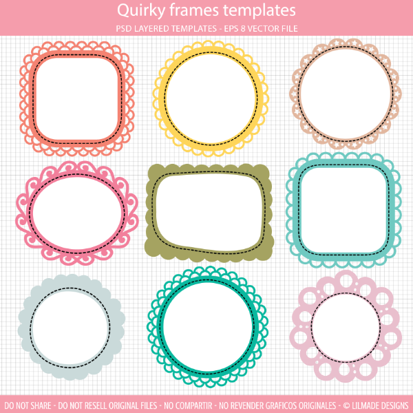 Quirky frames clipart templates Lilmade Designs