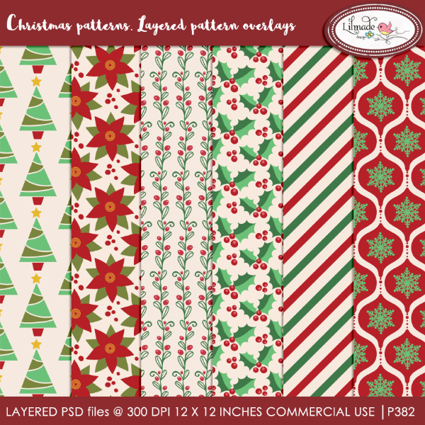 Christmas patterns layered pattern overlays Lilmade Designs