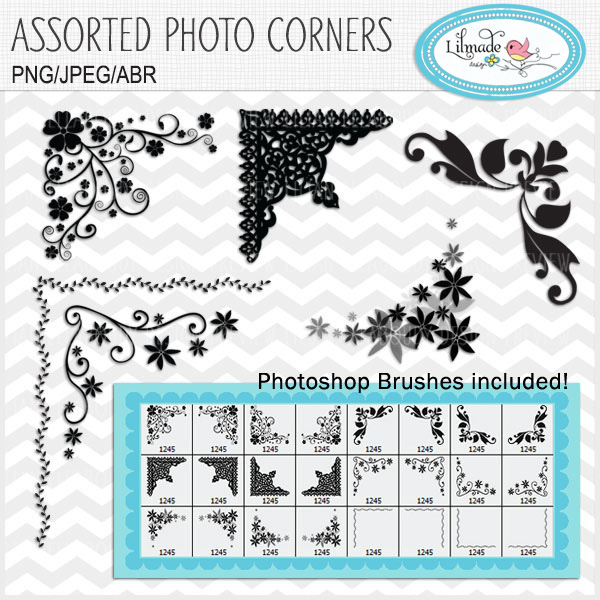Assorted Corners Photoshop Brushes Lilmade Designs
