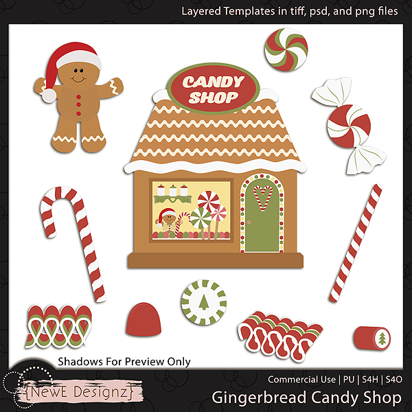 EXCLUSIVE Layered Gingerbread Candy Shop Templates By NewE Designz