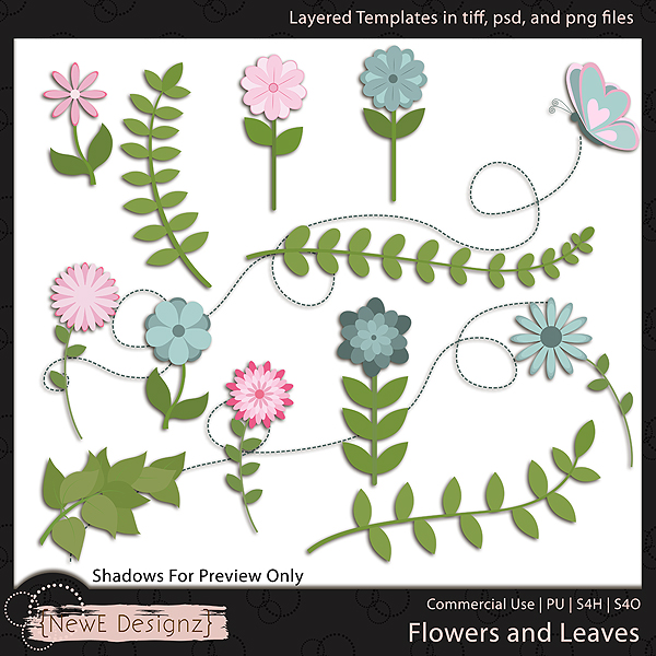 EXCLUSIVE Layered Flowers and Leaves Templates by NewE Designz