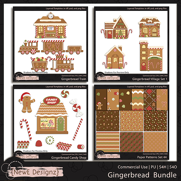 EXCLUSIVE Layered Gingerbread Bundle Templates by NewE Designz