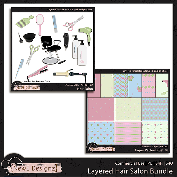 EXCLUSIVE Layered Hair Salon Bundle Templates by NewE Designz