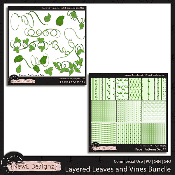 EXCLUSIVE Layered Leaves and Vines Bundle Templates by NewE Designz
