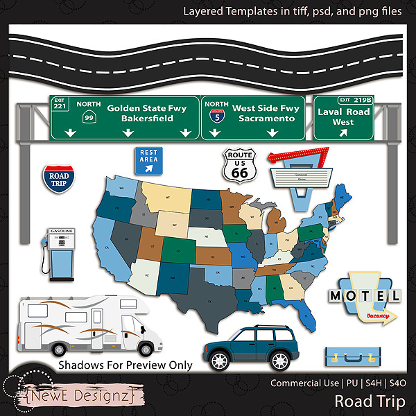 EXCLUSIVE Layered Road Trip Templates By NewE Designz