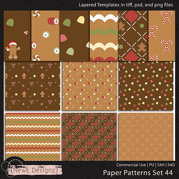 EXCLUSIVE Layered Paper Patterns Templates Set 44 by NewE Designz