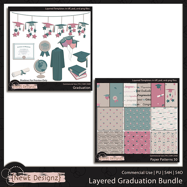EXCLUSIVE Layered Graduation Bundle Templates by NewE Designz
