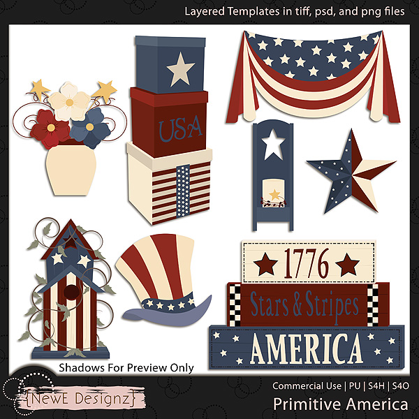 EXCLUSIVE Layered Primitive America Templates by NewE Designz