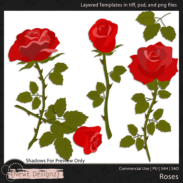 EXCLUSIVE Layered Roses Templates by NewE Designz