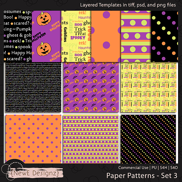 EXCLUSIVE Layered Paper Patterns Templates Set 3 by NewE Designz