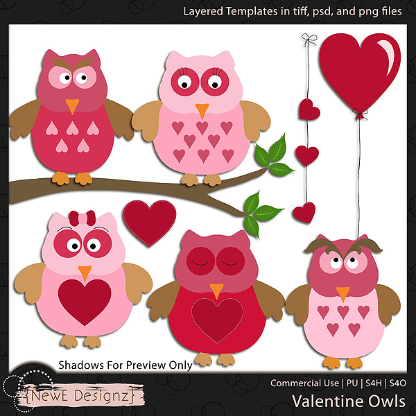 EXCLUSIVE Layered Valentine Owls Templates by NewE Designz