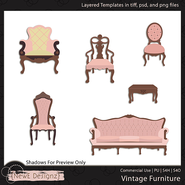 EXCLUSIVE Layered Vintage Furniture Templates by NewE Designz