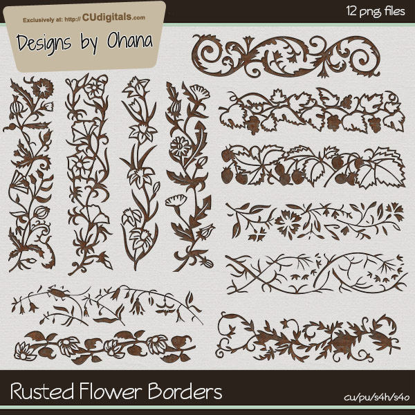 Rusted Flower Borders - EXCLUSIVE Designs by Ohana