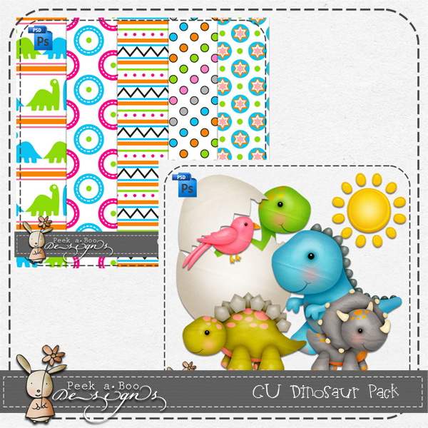 Dinosaur Pack Layered Template by Peek a Boo Designs