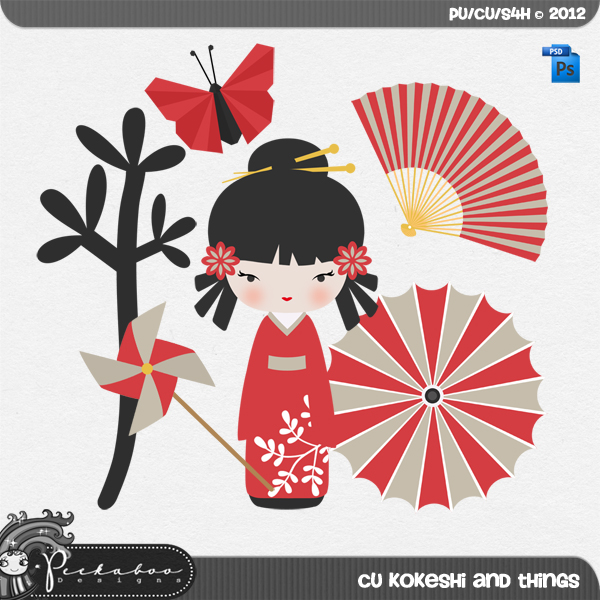 Kokeshi and Things Layered Template by Peek a Boo Designs