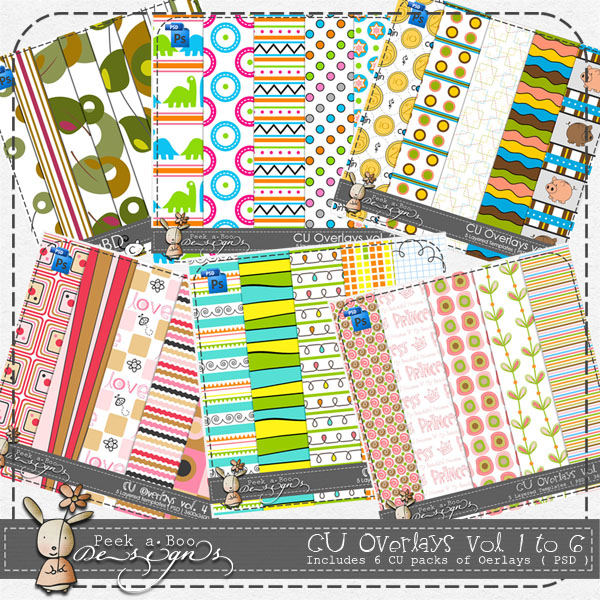 Overlays vol 1 to 6 Pattern Layered Template BUNDLE by Peek a Boo Designs