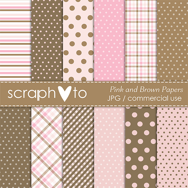 Pink and Brown Papers by Scraphoto Studio