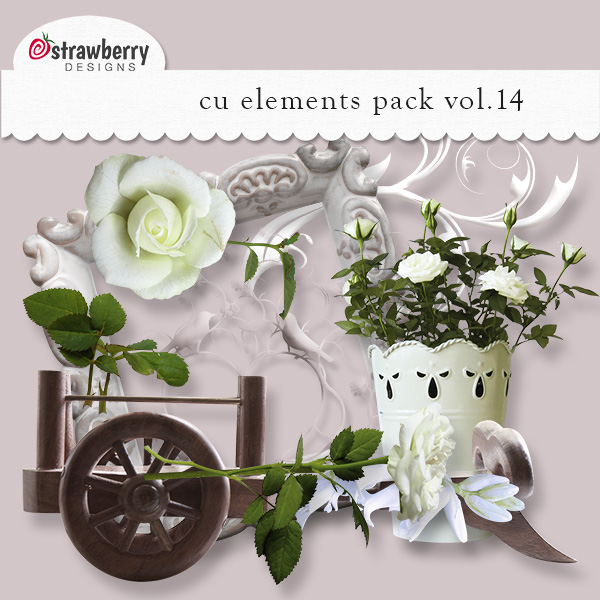 White Antique Floral Element Mix Vol 14 by Strawberry Designs
