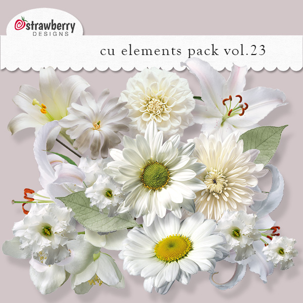White Flowers Element Mix Vol 23 by Strawberry Designs