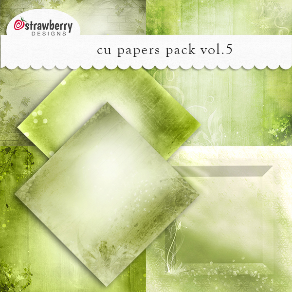 Commercial Use Papers Vol 5 Green - by Strawberry Designs