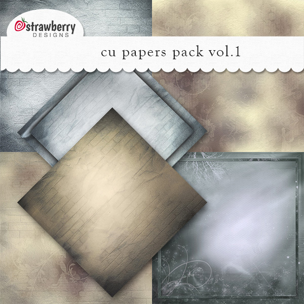 Commercial Use Papers Vol 1 Blue/Brown - by Strawberry Designs